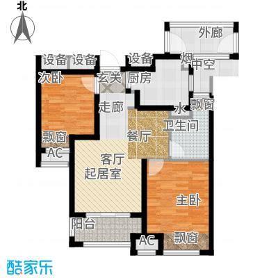 万科城万科城高层A-1户型2室2厅1卫 78.00㎡户型
