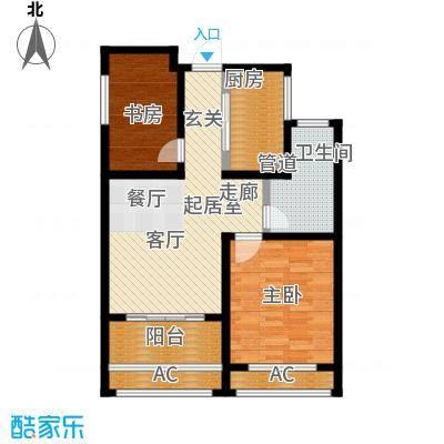 建滔裕景园86.00㎡F户型两室两厅一卫户型2室2厅1卫