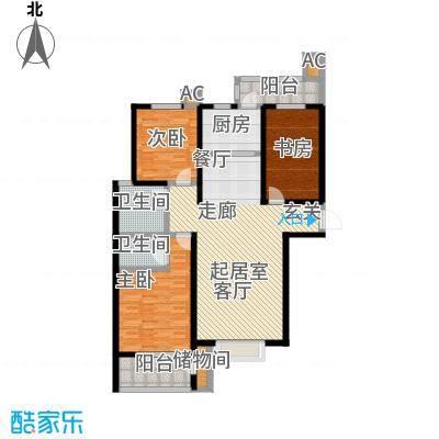 丽景华庭138.90㎡2-C户型三室两厅两卫户型3室2厅2卫