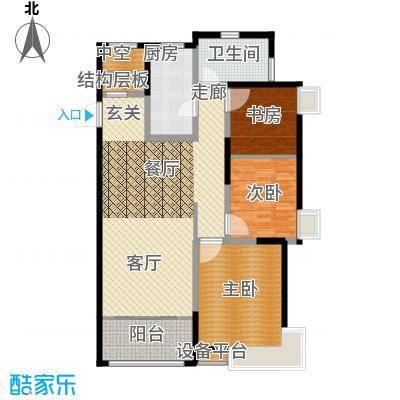 风尚米兰F 三房两厅两卫 建筑面积108-115㎡户型3室2厅1卫