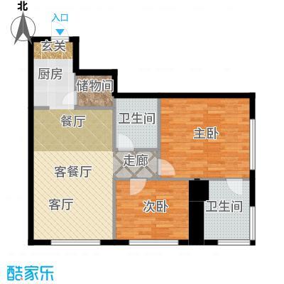 皇朝万鑫国际大厦102.00㎡二室二厅二卫一储户型