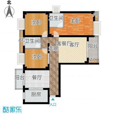 尚城国际121.97㎡A户型3室2厅2卫