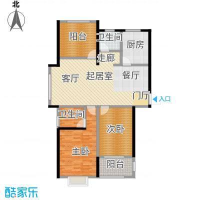 正东中央公馆105.00㎡A户型 三房两厅两卫户型3室2厅2卫