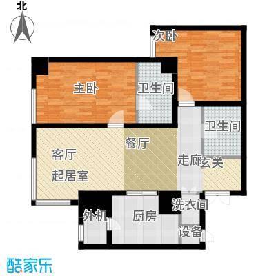 乐天圣苑132.00㎡C户型二室二厅二卫户型2室2厅2卫