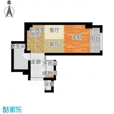 乐天圣苑57.00㎡H户型一室一厅一卫户型1室1厅1卫