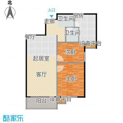 哈西万达广场84.00㎡A户型2室2厅1卫建筑面积84-89平方米户型2室2厅1卫