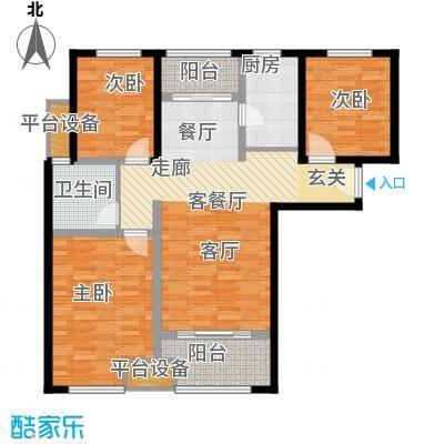 鑫苑景城户型3室1厅1卫1厨