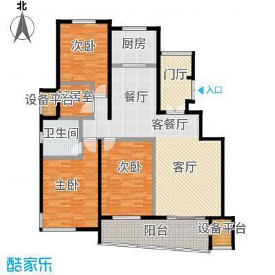幸福家园128.00㎡花园三房A户型3室2厅2卫
