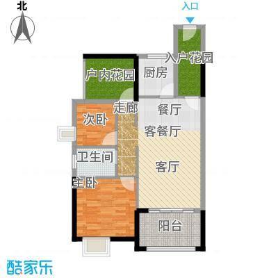 鑫月城87.17㎡D2三房二厅一卫87.17平米户型3室2厅1卫