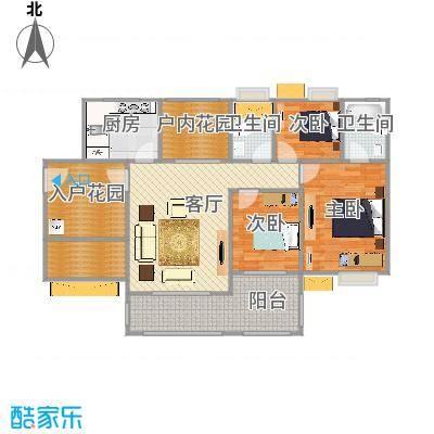 鑫月城105.36㎡102栋103栋户型3室2厅2卫