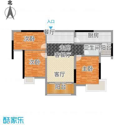 南昌万达城110.00㎡A区住宅B6户型3室2厅1卫