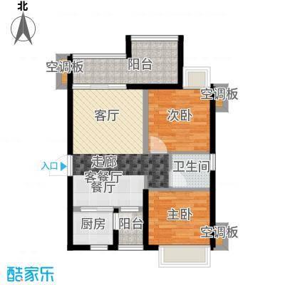 T PARK时尚公园78.00㎡凡高公馆B户型2房2厅1卫-78㎡户型2室2厅1卫
