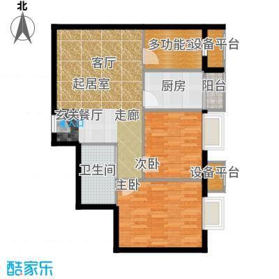 新松・茂樾山72.00㎡建筑面积约72平米D2户型2室2厅1卫