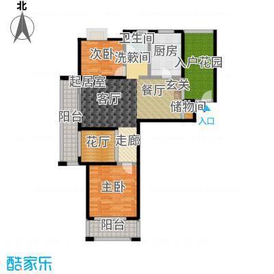 丽阳兰庭107.70㎡户型E1 两室两厅一卫+入户花园+花厅 建筑面积约:107.7㎡户型2室2厅1卫