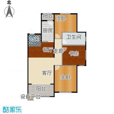 中海雍景熙岸107.00㎡三室两厅一卫 使用面积70平米户型3室2厅1卫