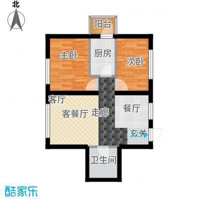 宏泽中央公园两室两厅一卫使用面积52.8平米户型X