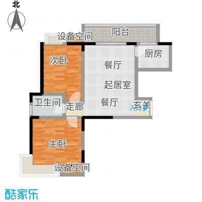 翰林珑城85.00㎡翰林珑城1号楼A2两房两厅一厨一卫户型2室2厅1卫