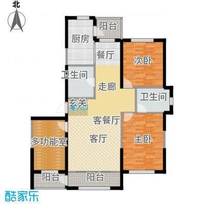 鼎力叶知林134.48㎡D户型,参考建筑面积约134.48平米户型3室2厅2卫