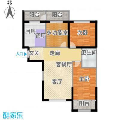 鼎力叶知林116.16㎡C户型,参考建筑面积约116.16平米户型3室1厅1卫