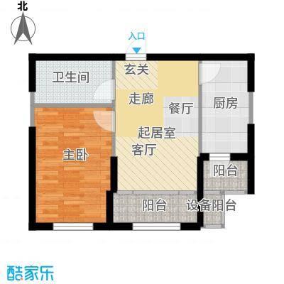 鼎力叶知林64.26㎡B户型,参考建筑面积约64.26平米户型1室2厅1卫