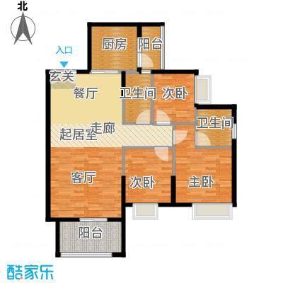锦江国际新城99.00㎡19-20栋02单位户型3室2厅2卫