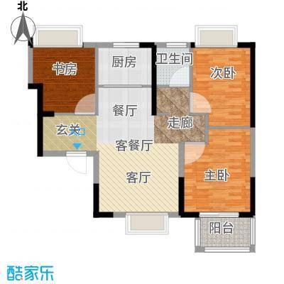 荣盛莉湖春晓84.64㎡B3户型3室1厅1卫1厨