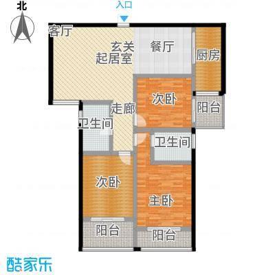锦绣花园126.09㎡D户型三室二厅二卫户型