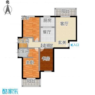锦绣花园139.02㎡C户型三室二厅二卫户型