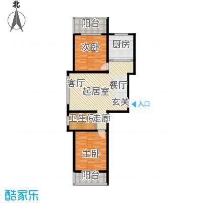 港丽城92.35㎡二居室户型2室2厅1卫