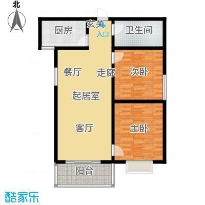 港丽城88.82㎡二居室户型2室2厅1卫