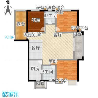 高新名门147.93㎡A座1单元b户户型3室2厅2卫