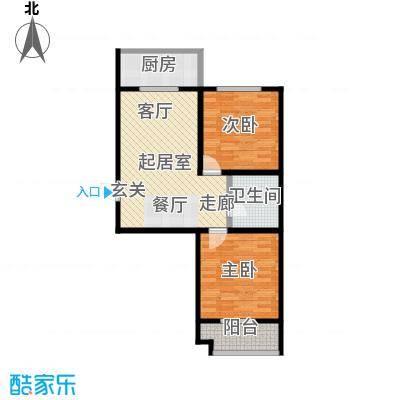港丽城93.38㎡1号楼二、三单元 D户型2室2厅1卫