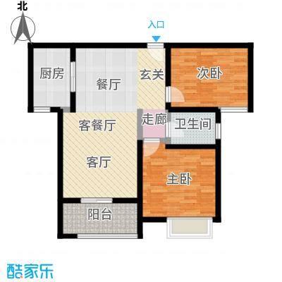 美的翰城82.00㎡G3/4户型2室2厅1卫