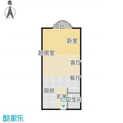 曼哈顿国际55.42㎡公寓H户型1室1卫