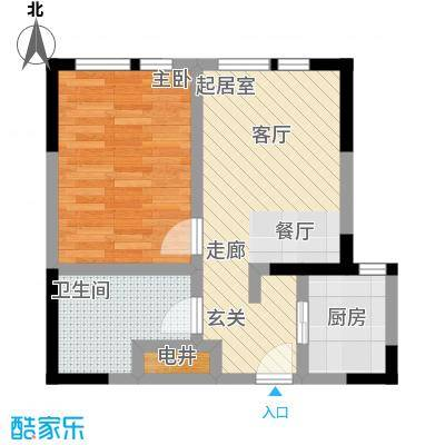DHouse名爵汇65.00㎡A户型 一室两厅一卫户型1室2厅1卫