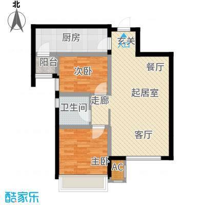 富力城83.00㎡G户型两厅两厅一卫户型2室2厅1卫