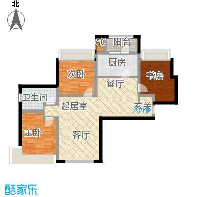 富力城130.00㎡I户型三室两厅两卫户型3室2厅2卫
