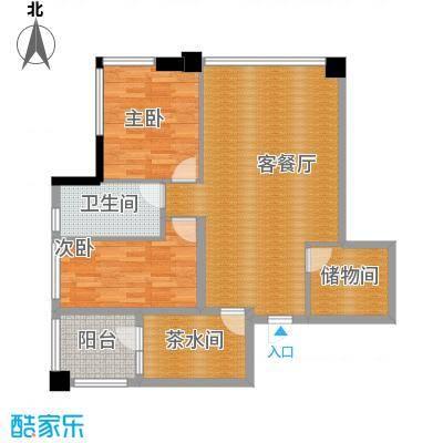 时代广场121.00㎡一号楼5-34层户型 两室两厅一卫户型