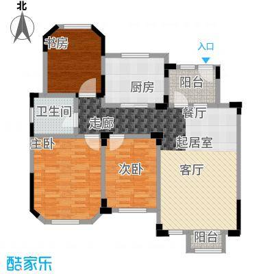 城置金色年华109.00㎡E-3户型三房两厅两卫 109㎡户型3室2厅2卫