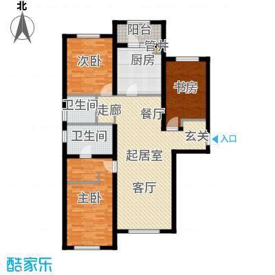 富力城140.00㎡F户型三室两厅两卫户型3室2厅2卫