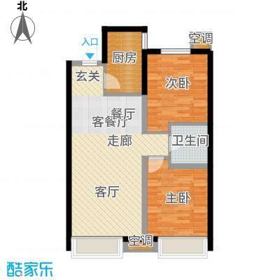金地铂悦87.00㎡瞰景高层二室二厅一卫户型2室2厅1卫