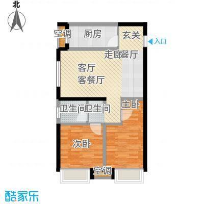 金地铂悦79.00㎡瞰景高层二室二厅一卫户型2室2厅1卫