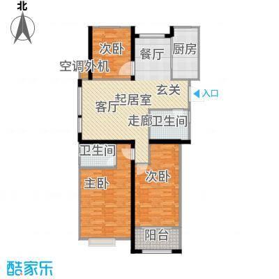 金榜府邸130.00㎡F1型户型3室2厅2卫