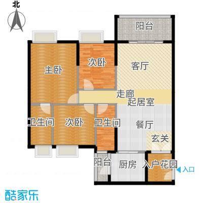 锦江国际新城124.00㎡19-20栋08单位户型3室2厅2卫