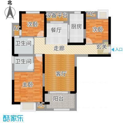 观澜外校城110.00㎡4号楼A户型3室2厅2卫