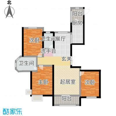 宏润・翠湖天地107.62㎡D1户型3室2厅2卫