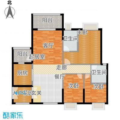 锦江国际新城122.00㎡19-20栋03单位户型3室2厅2卫