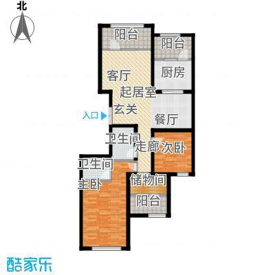 金辉天鹅湾115.00㎡P户型 三室两厅两卫户型3室2厅2卫