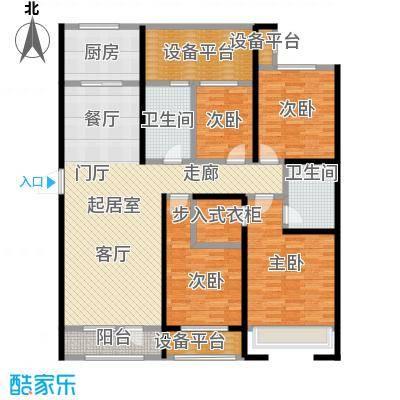 隆河谷二期142.86㎡GB-1户型 四室二厅二卫户型4室2厅2卫