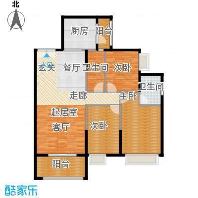 锦江国际新城116.00㎡9-10栋08单位户型3室2厅2卫